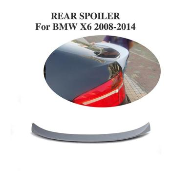 Rear Trunk Boot Lip Spoiler Racing Wing For BMW X6 E71 2008-2014 FRP Unpainted Grey Primer image