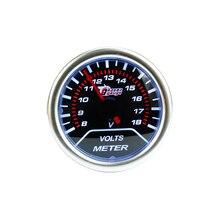 Livraison gratuite 52mm Fumée Lentille Auto Voiture Voltmètre 8 ~ 18 V Bleu Led Universel Racing Auto Voiture jauge 52mm Voltmètre Jauge
