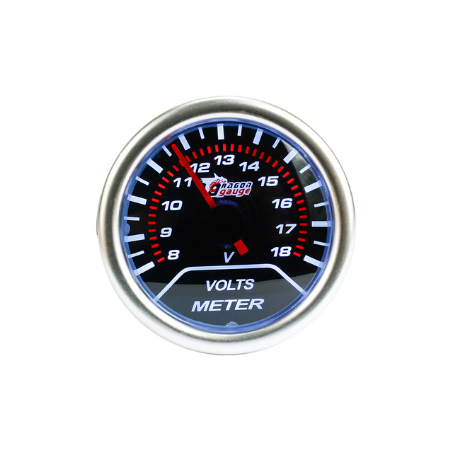 Free shipping 52mm Smoke Lens Auto Car Voltmeter Gauge 8~18V Blue Led Universal Racing Auto Car Gauge 52mm  Voltmeter Gauge