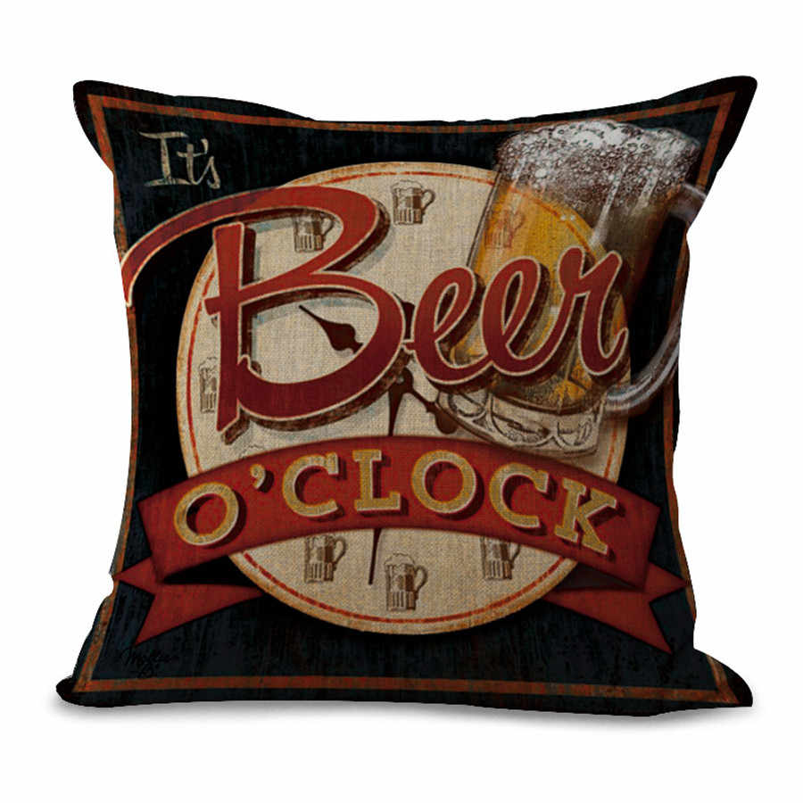 Cushion Cover Retro Beer Hunter Beer Holder Series Pillow Case Home Decor Throw Pillows Chair Almofadas Para Sofa Pillowcase Cushion Cover Aliexpress