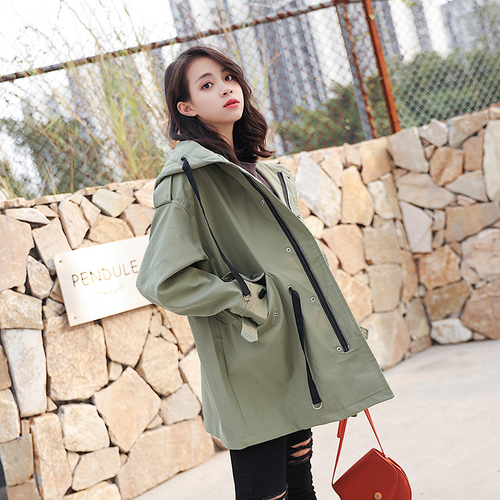 Ailegogo New Spring Hooded   Trench   Coat Lace Up Army Green Medium Long Loose Fit Clothing Cotton Outwear
