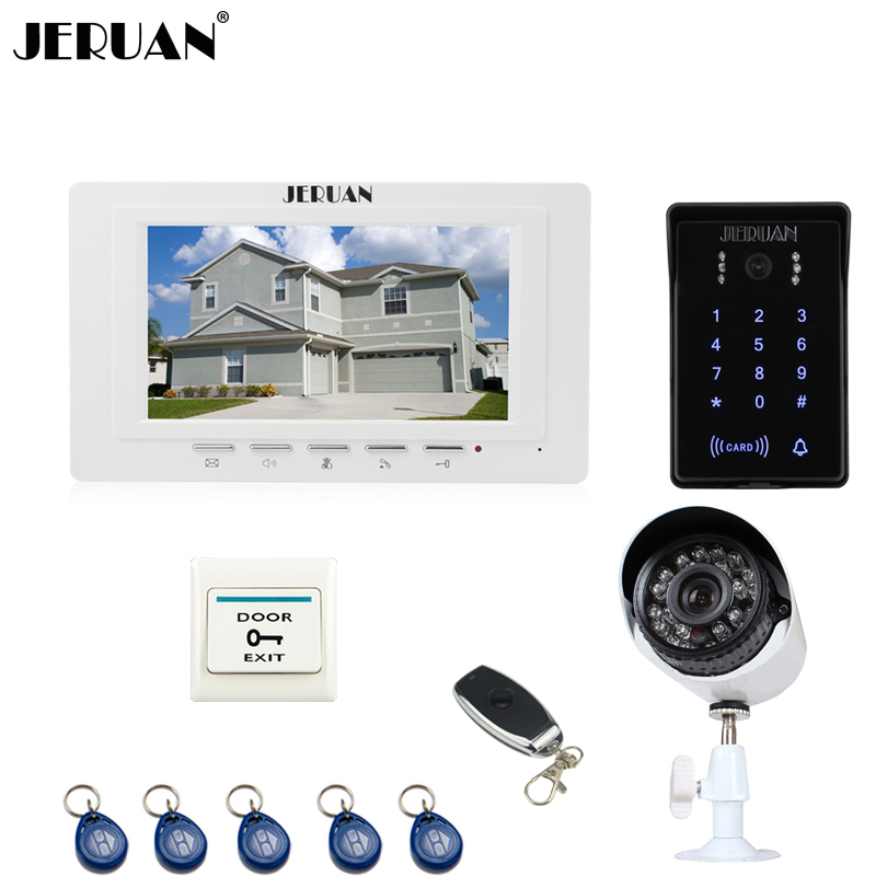 JERUAN white 7`` video door phone intercom System monitor RFID waterproof Touch Key password keypad Camera+700TVL Analog Camera jeruan 8 inch tft video door phone record intercom system new rfid waterproof touch key password keypad camera 8g sd card e lock