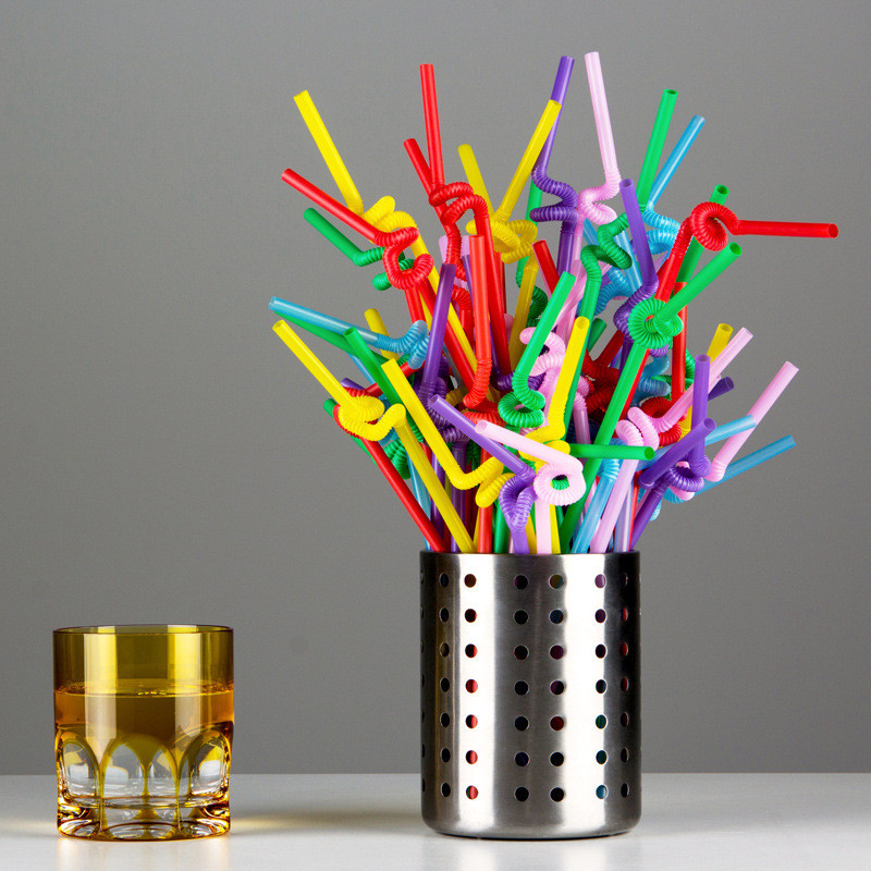 Online Shop 100 Ps Multicolor Plastic Drinking Straws Hawaiian Party