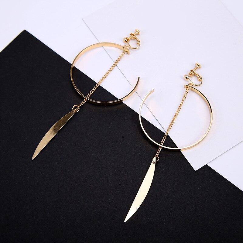 Earrings Clips Jewelry Ear-Cuff Arc-Pendant Pierced Cartilage Big on No Women for Girls
