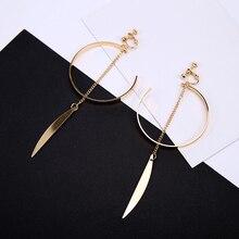Korean Simple Metal Open Circle Ear Clips Women Big Arc Pendant Long Clip Earrings for Girls Jewelry Brincos