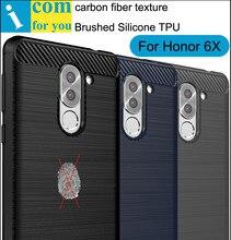 Углеродного волокна Матовый Силикона TPU Cover Case Для Huawei GR5 2017 Honor 6X Матовый Анти-отпечатков пальцев Оболочки