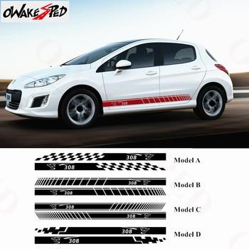 For Peugeot 308 Sport Stripes Car Door Side Skirt Stickers Auto Body Decor Decal Waterproof Racing Styling Vinyl Decals