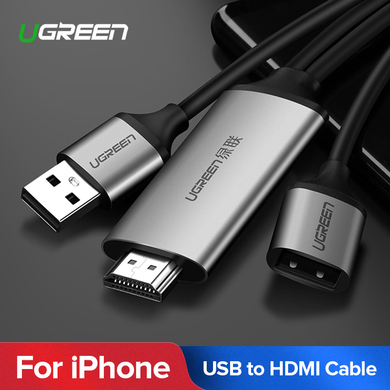 Ugreen Cable HDMI para iPhone 8X7 6 6 S Plus, iPad TV teléfonos Android a HDMI adaptador Full HD 1080 P USB HDMI convertidor de Cable HDMI