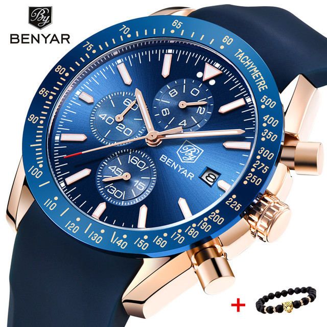 2018 Watch Men Luxury Brand BENYAR Mens Blue Watches Silicone Band Wrist Watches