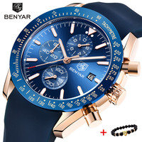 2018 Watch Men Luxury Brand BENYAR Mens Blue Watches Silicone Band Wrist Watches Men's Chronograph Watch Male Relogio Masculino