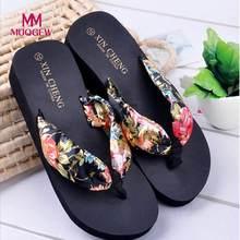 8b0b097ff66fd4 Women s Flip Flops Bohemia Floral Beach Sandals Wedge Platform Thongs  Slippers Flip Flops Female Korean Style