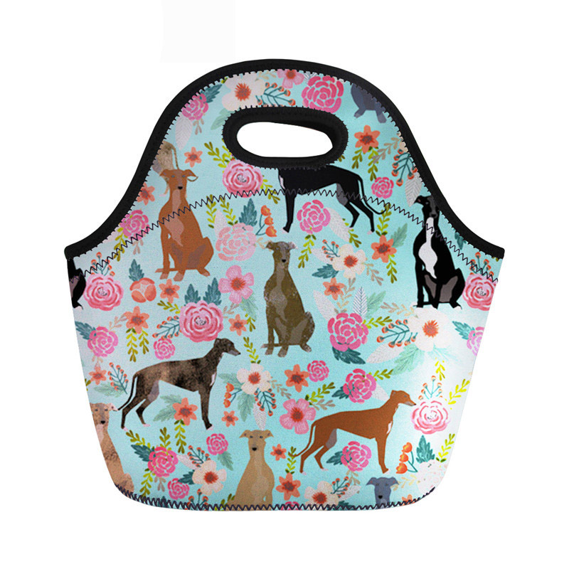 Food Package For Women Fashion Neoprene Lunch Bag Female Greyhounds Cute Dog Print Thermal Children Lunchbox With Zipper