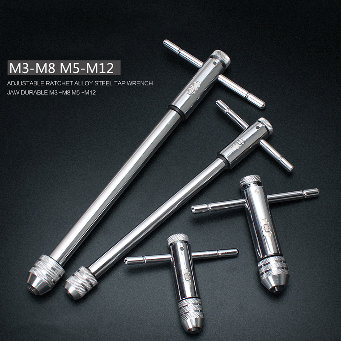 1pc M3-M8 M5-M12 Lengthen Reversible T Bar Handle Ratchet For Tap Die Taps Wrenches Wire Tapping Wrench Adjustable Holder Tool