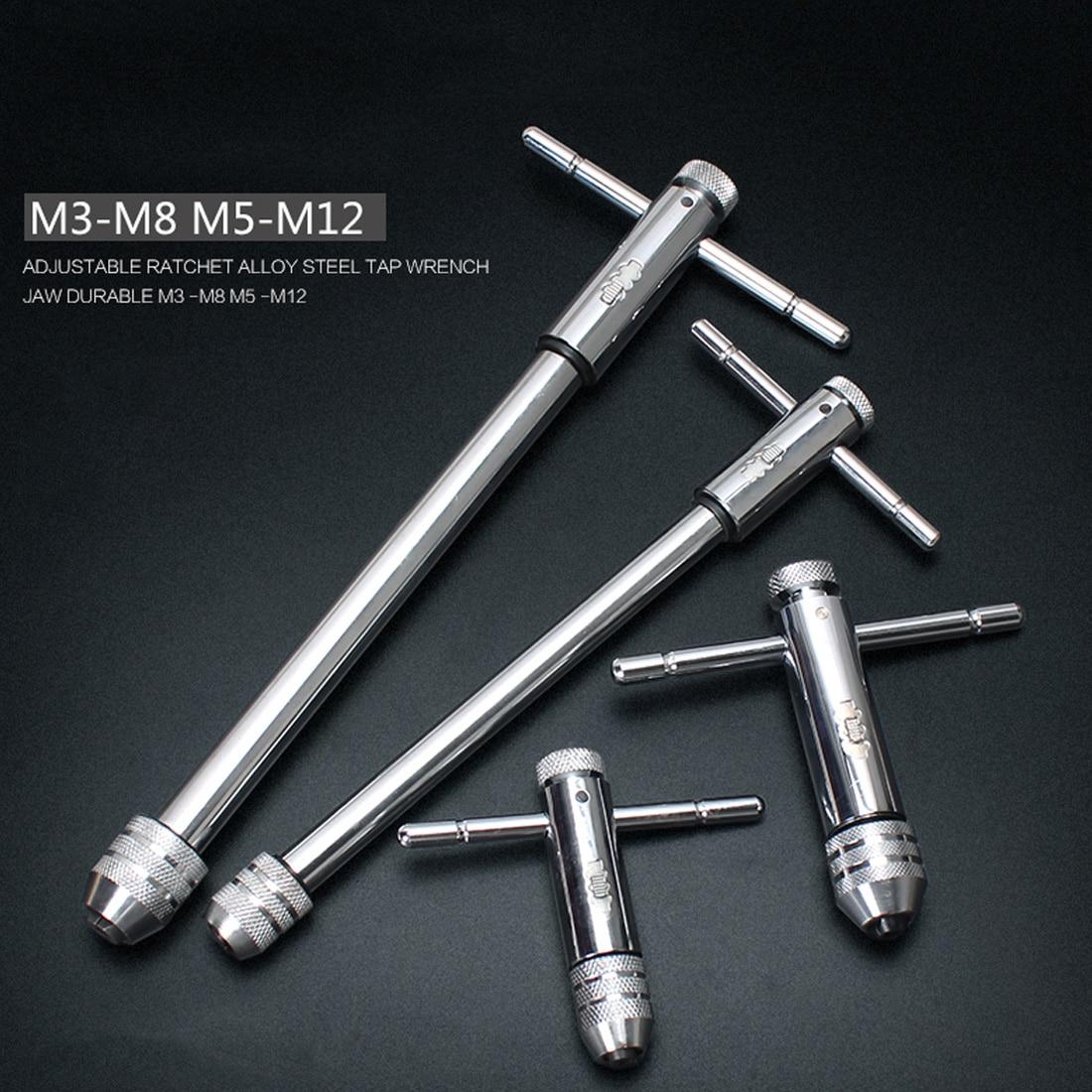 2 Pack réversible t bar poignée cliquet Clé Robinet M3-M8 M5-M12 tap /& die set