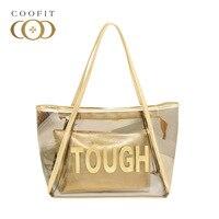 Coofit Dama Mody Galaretki Przezroczysty Tote Bag Złoty/Srebrny Kobiet Dorywczo Torby Na Zakupy Torba Na Ramię Ze Sprzęgłem Plaży torby
