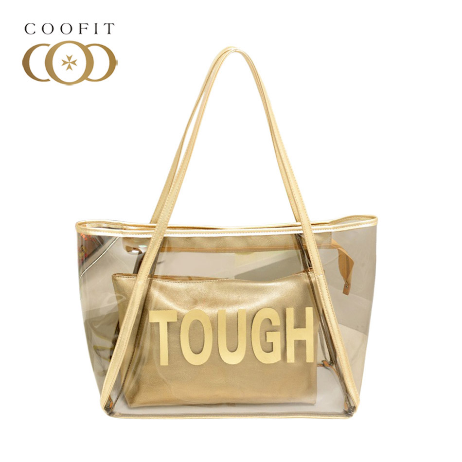 Coofit Lady Fashion Jelly Clear Transparent Tote Bag Gold/Silver Shoulder Bag With Clutch Womens Casual Bags Shopping Beach Bags women canvas stripe tote bags casual shopping bags simple shoulder bags lady handtassen sac bandouliere bolso mujer clutch