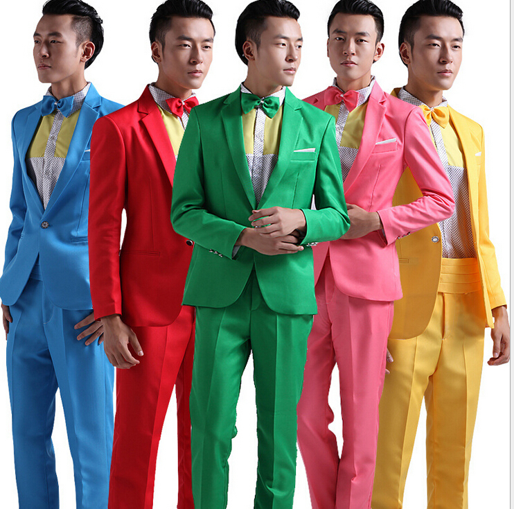 Suit Men New 2018 Long Sleeved Men's Suits Dress Hosted Theatrical Tuxedos For Men Wedding Prom Red Yellow Blue And Green M L XL