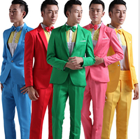 Suit Men New 2019 Long Sleeved Men's Suits Dress Hosted Theatrical Tuxedos For Men Wedding Prom Red Yellow Blue And Green M L XL