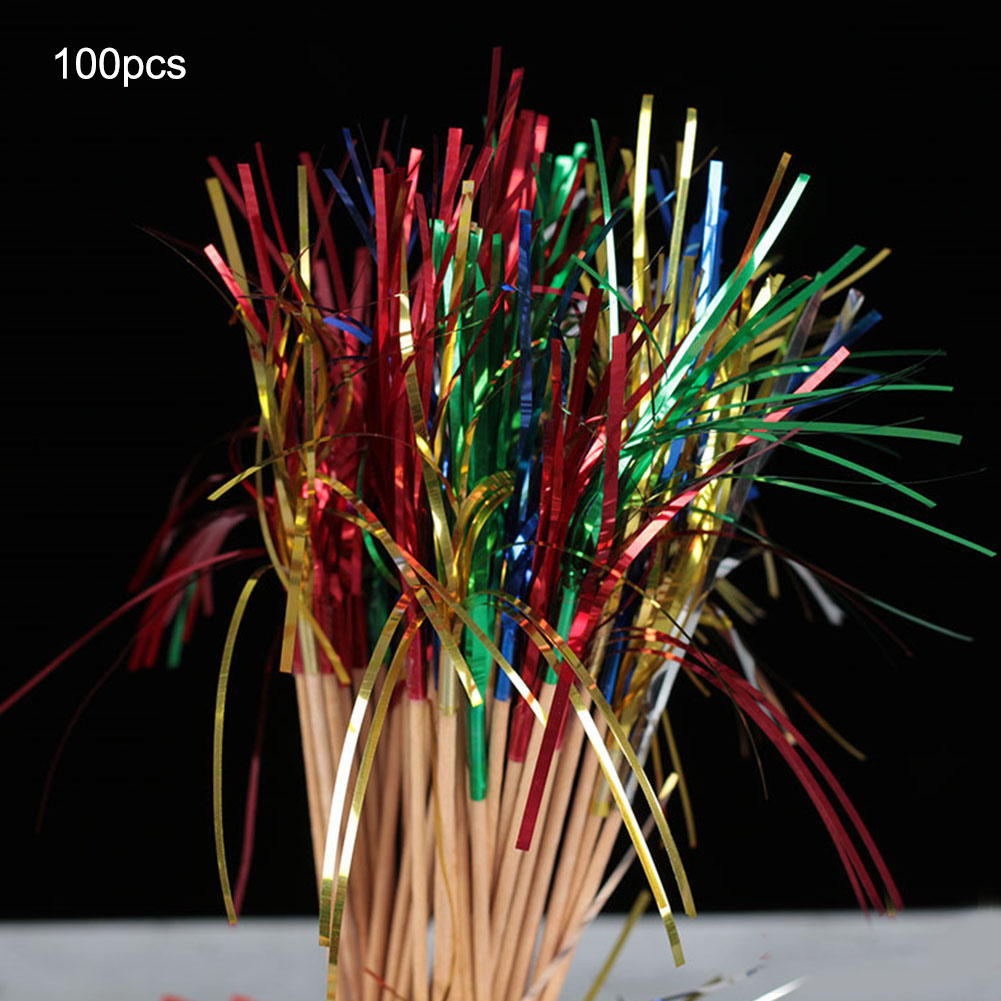 Fine 100Pcs One Time Fruit Cocktail Cake Fireworks Drink Picks Sticks Funny Birthday Cards Online Alyptdamsfinfo