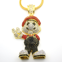 Very Lage Size 36inch Franco Chain Cartoon Game Pendant Hip Hop Necklace Jewelry Bling Bling Iced