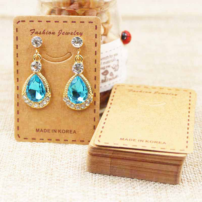 100PCS Lovely smiling jewelery package & earring display card kraft/white drop earring products decorative tag card 6.5*4.50cm
