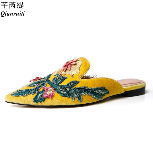 qianruiti summer embroidered mules women pointed toe floral slides