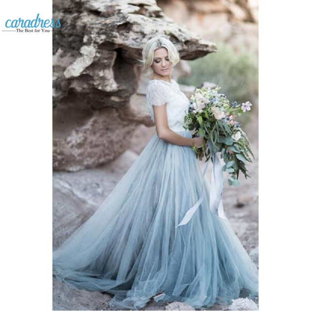 2017 Modest Tulle A Line Country Wedding Dresses Sky Blue Vestido De Novia Lace Jewel Sleeves