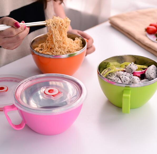 Stainless steel bowl instant noodles bowl with Cover Lunch Box heat insulation Soup bowl Food Container with Handle tableware
