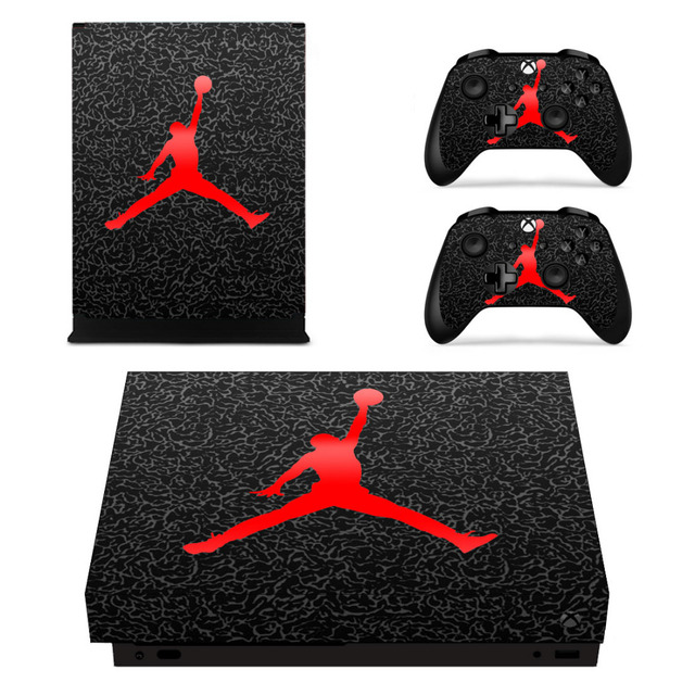 06222c04564a NBA Air Jordan Skin Sticker Decal For Microsoft Xbox One X Console and 2  Controllers For