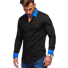 2019 MenS New Casual Button Long-Sleeved Shirt Fashion Solid Color Business Slim