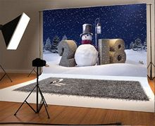Winter snow 3D Happy New Year 2018 snowman tree Light backdrop Vinyl cloth High quality Computer print party  Background