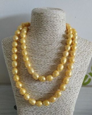 3211-13mm Genuine AKOYA YELLOW PEARL NECKLACE>Selling jewerly free shipping