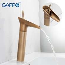 GAPPO Basin Faucets antique brass waterfall faucet basin sink faucet basin mixer bathroom water taps deck mount faucet стоимость