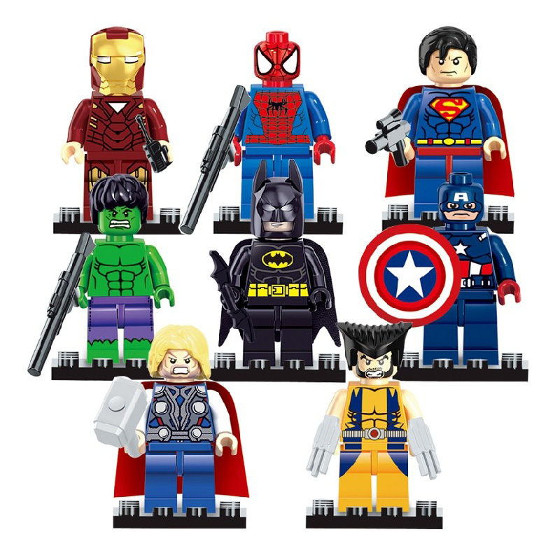 Pogo Lepin Marvel Spider Ironman Batman Hulk Wolverine Super Heroes Marvel Avengers Building Blocks Bricks Toys compatible legoe marvel platinum the definitive wolverine reloaded