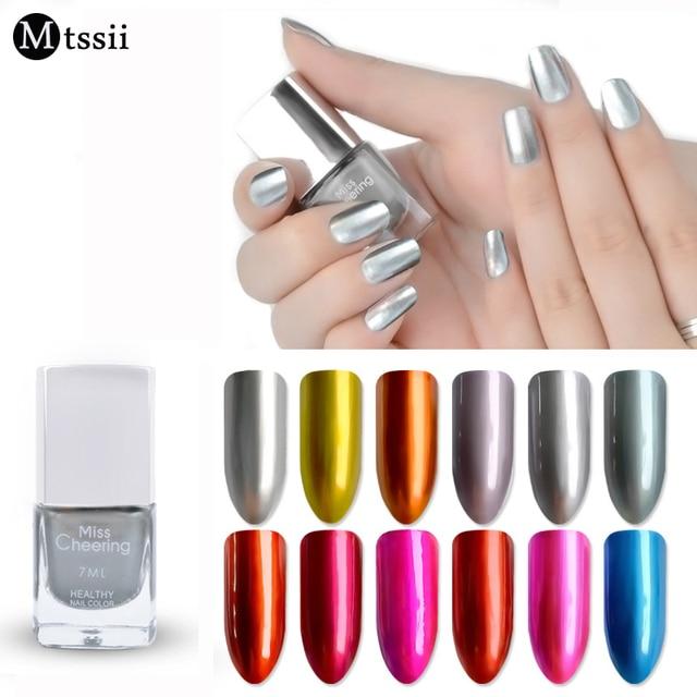 Mtssii color metálico espejo Esmaltes de uñas nail DIY plating plata ...