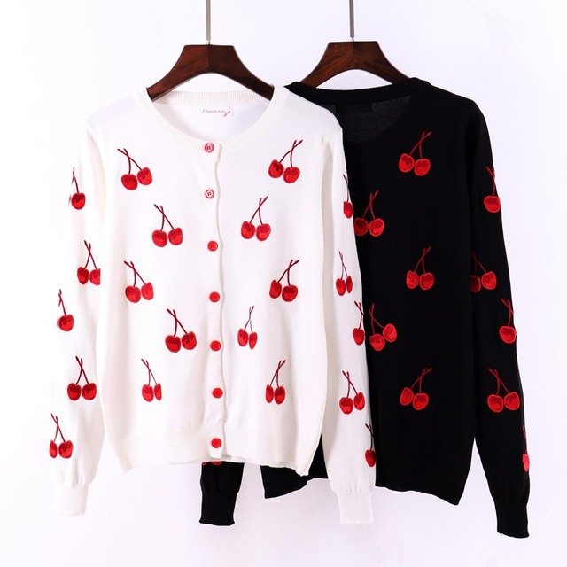 2019 new women sweet sweater cardigan Spring and summer round collar , long sleeve cherry embroidered coat