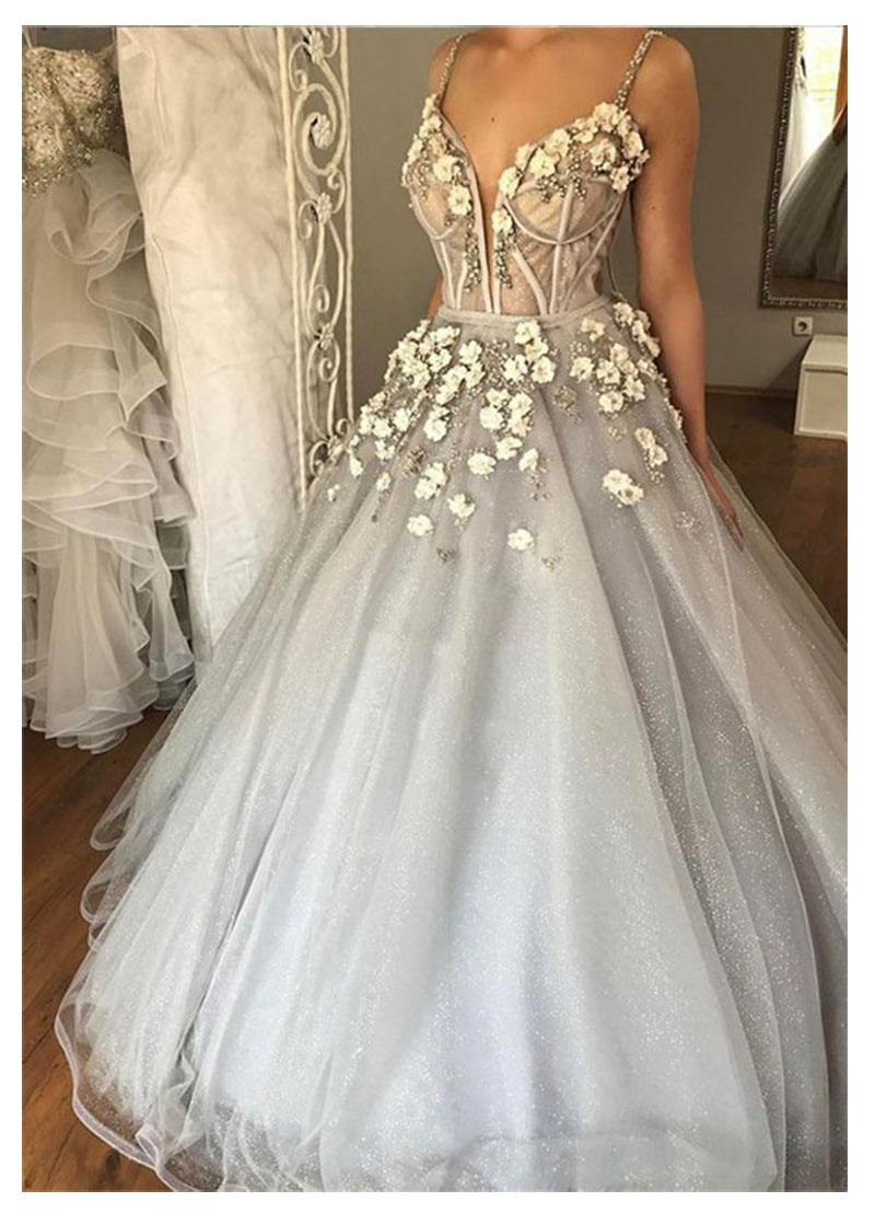 LORIE Boho Wedding Dresses Sweetheart Appliques A-Line 3D Flowers Princess Floor Length  Bride Dress Wedding Gown Custom Made