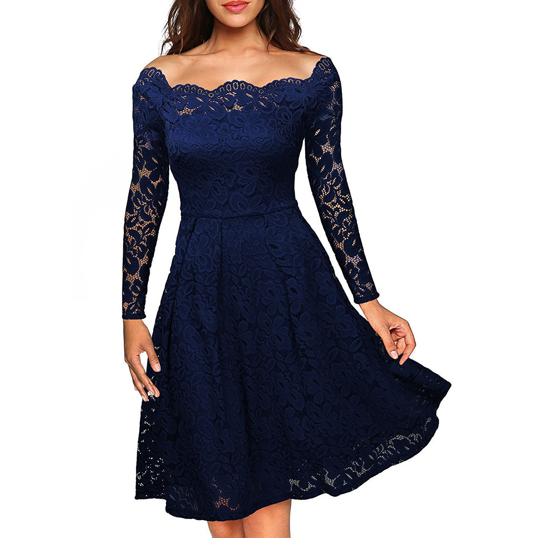 YJSFG HOUSE New Women's Elegant Lace Dresses Off Shoulder Lace Skater Midi Dress Evening Formal Party Dresses Plus Size Girls