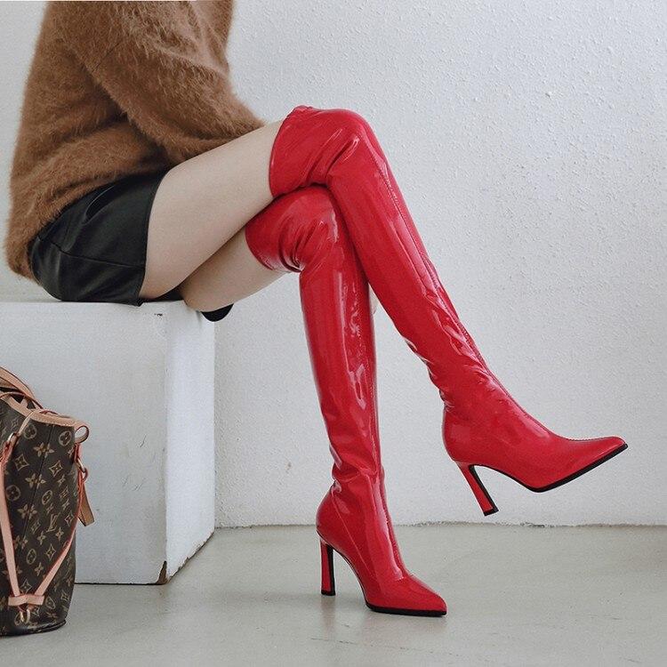Ladies Kitten Heels Patent Leather Platform Knee High Boots Nightclub Party Shoe