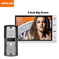 2016 Nova porta de vídeo a cores de tela grande tela de 9 polegada sistema de monitores câmera de vídeo campainha interfone campainha da porta interfone telefone vídeo