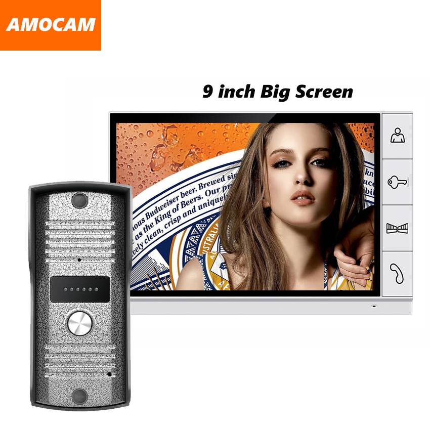 2017 New big screen 9 inch screen color video door phone intercom system video doorbell camera