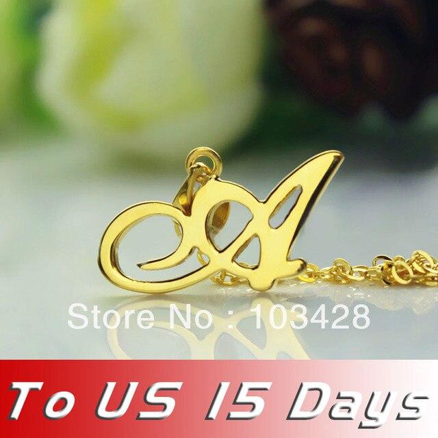 Freeshipping Estilo Madonna Personalizado Nombre Collar chapado en Oro sobre Plata Collar Carta