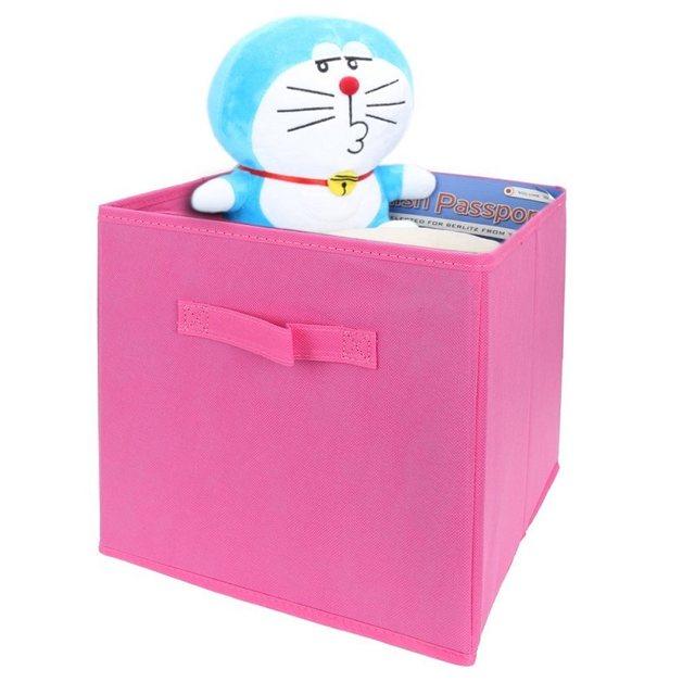 Pink Fabric Cube Storage Bins, Foldable, Premium Quality Collapsible  Baskets, Closet Organizer Drawers
