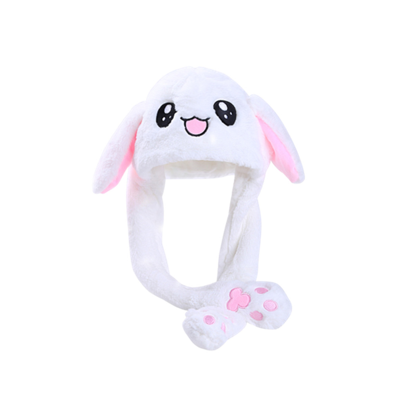 Cute Rabbit Toys Hat Hand Pressing Ear Move Kawaii Child Funny Toy Baby Comfortable Plush Animal Cap Hot Handle Sombrero T0730