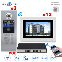 7'' Touch Screen WIFI IP Video Door Phone Intercom Building Access Control System Support Password/IC Card 3 to 12 + POE Switch
