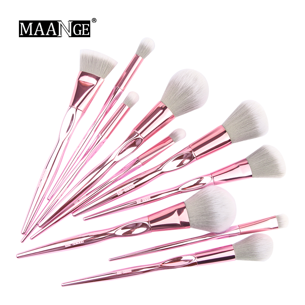 New Arrival MAANGE 10pcs Pink Makeup brushes set Beauty Make up brush Cosmetic women blush Powder Foundation Eyeshadow brushes gujhui 10pcs makeup brushes set cosmetic face foundation powder eyeshadow blush blending contour make up brush with puff and bag