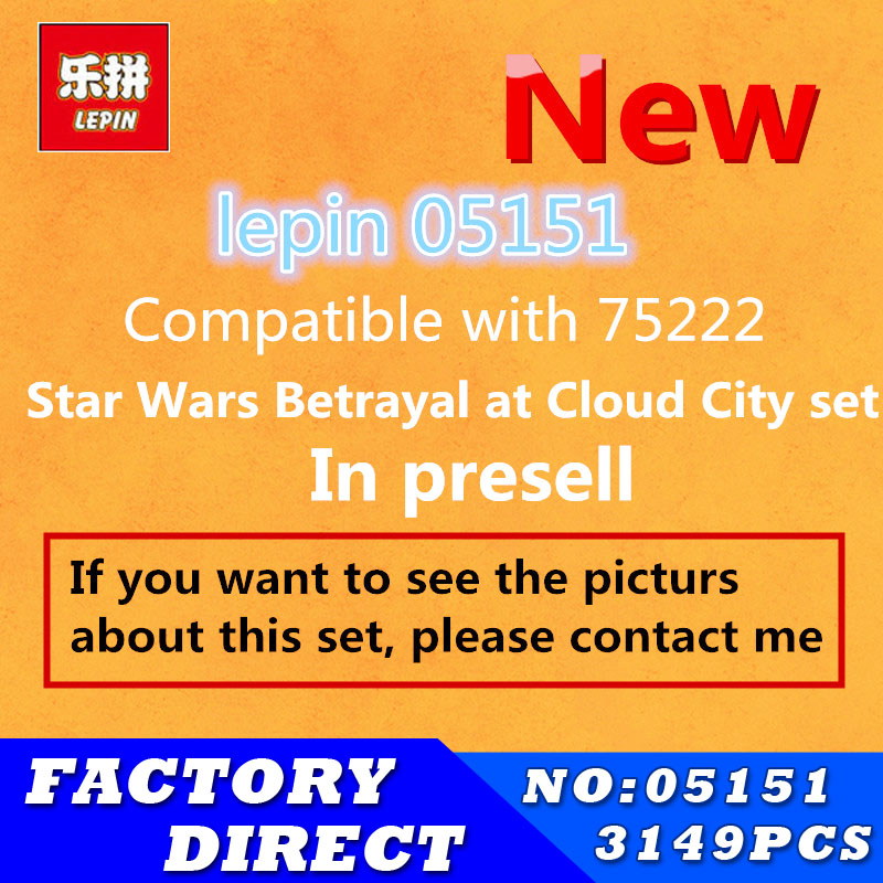 2018 New Lepin 05151 Star Plan Wars Betrayal at Cloud City set Compatible with 75222 Blocks Bricks Building Educational Model new 1685pcs lepin 05036 1685pcs star series tie building fighter educational blocks bricks toys compatible with 75095 wars
