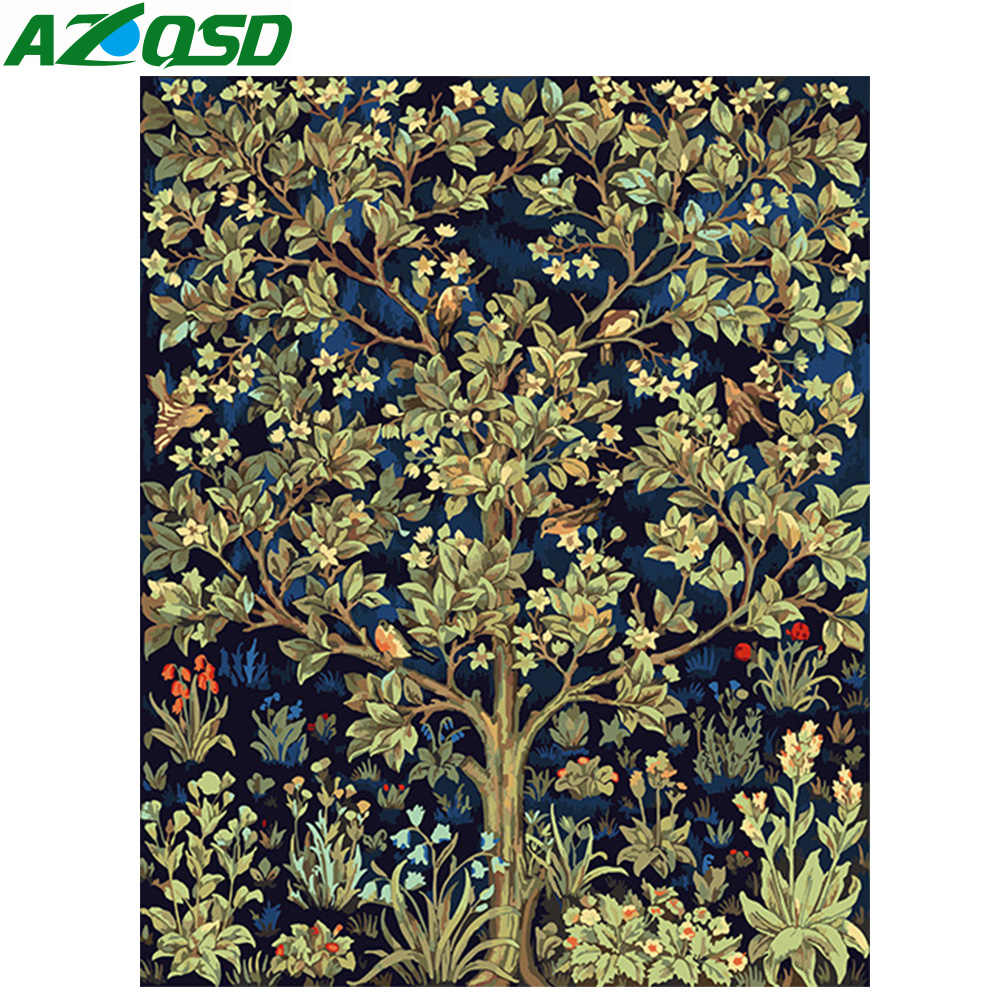 AZQSD Modern Oil Painting Flower Tree Painting By Numbers DIY Paint Canvas Picture Home Decoration Hand Painted Wall Art K172