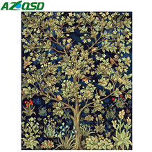 AZQSD Modern Oil Painting Flower Tree Painting By Numbers DIY Paint Canvas Picture Home Decoration Hand Painted Wall Art K172(China)