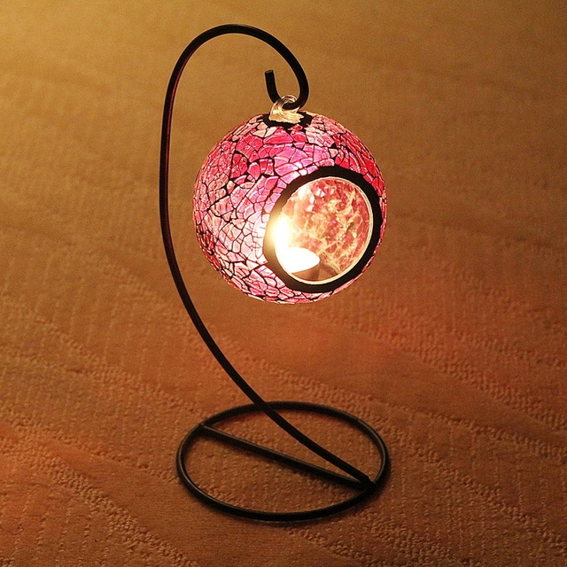 Purple color hanging lantern mosaic tealight candle holders , candle lantern for wedding centre / party / home decor